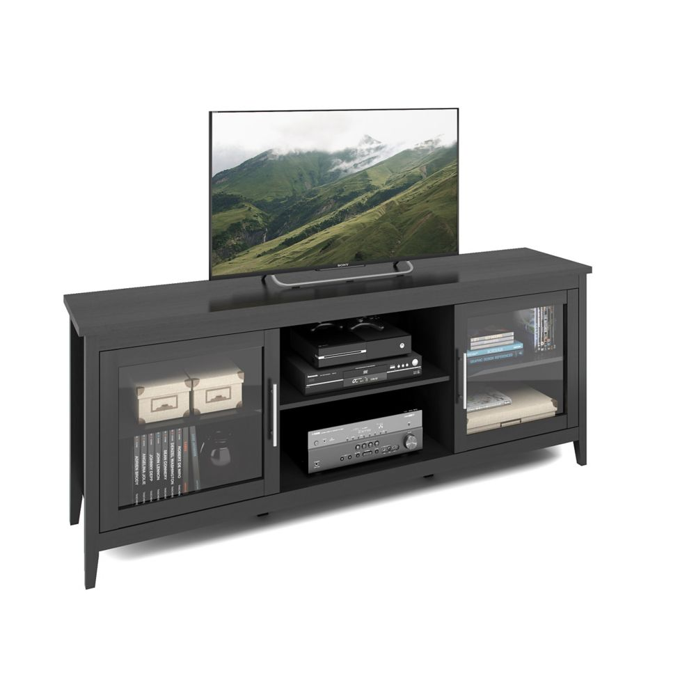 Corliving Jackson Extra Wide Black Wood Grain TV Bench, for TVs up to 80 inch
