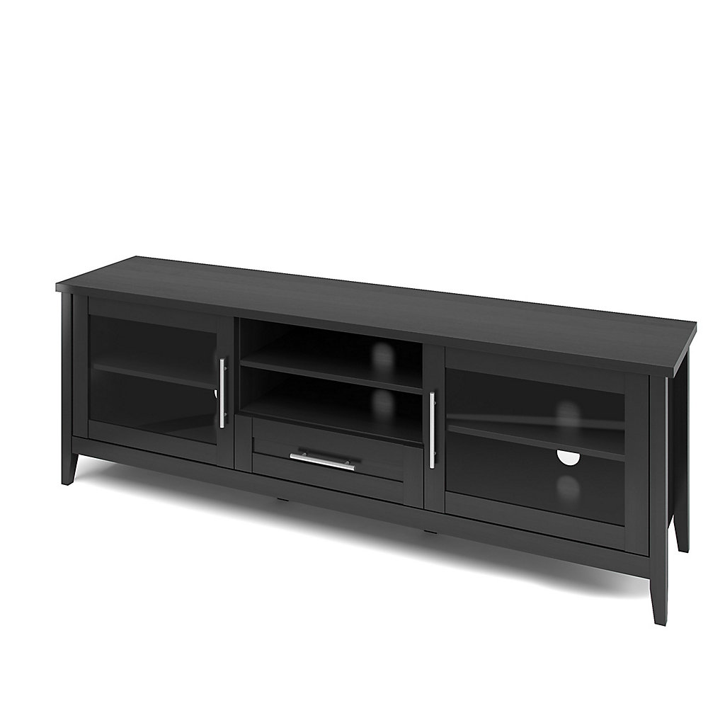 Jackson Extra Wide TV Bench in Black Wood Grain Finish, For TVs up to 80Inch
