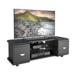 Corliving Panorama Black TV Stand with Casters, for TVs up to 57Inch