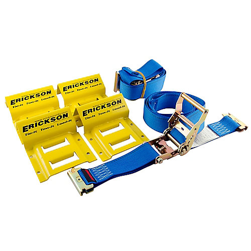 Wheel Chock and Strap 6.5 ft. x 2-inch 2-Pack E-Track Ratchet Straps with 4-Pack Wheel Chocks