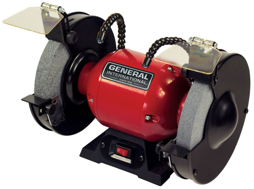 General International 8 inch 3.8A Bench Grinder With Twin Led Work Lights