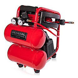 General International 1/3 Hp 2 Gallon Twin Stack Air Compressor With 25' Auto Rewind Hose Reel
