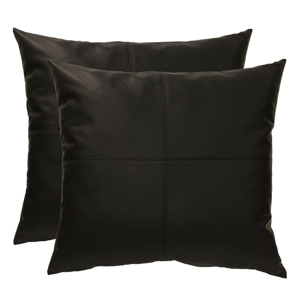 Couture Roma faux leather 2pk decorative cushions 20x20, black