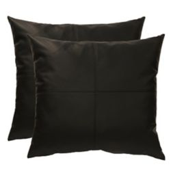 Couture Roma faux leather decorative cushions 20x20, black (2-Pack)