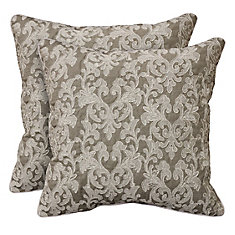 Lucia embroidered faux linen 2pk decorative cushions 18x18, grey
