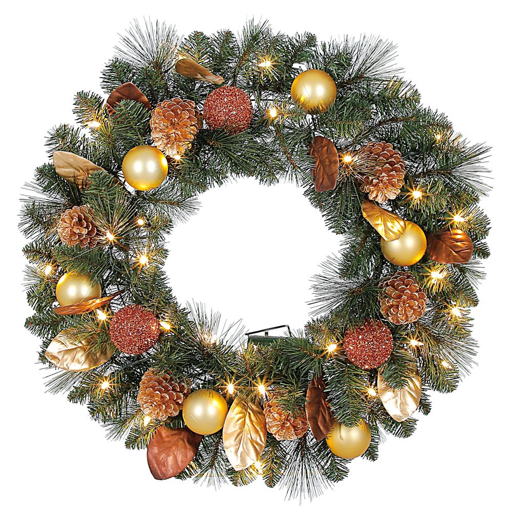Home Accents Holiday 30 inch Pre-Lit LED Arctic Flurry Artificial Wreath with 35 Battery-Operated Lights