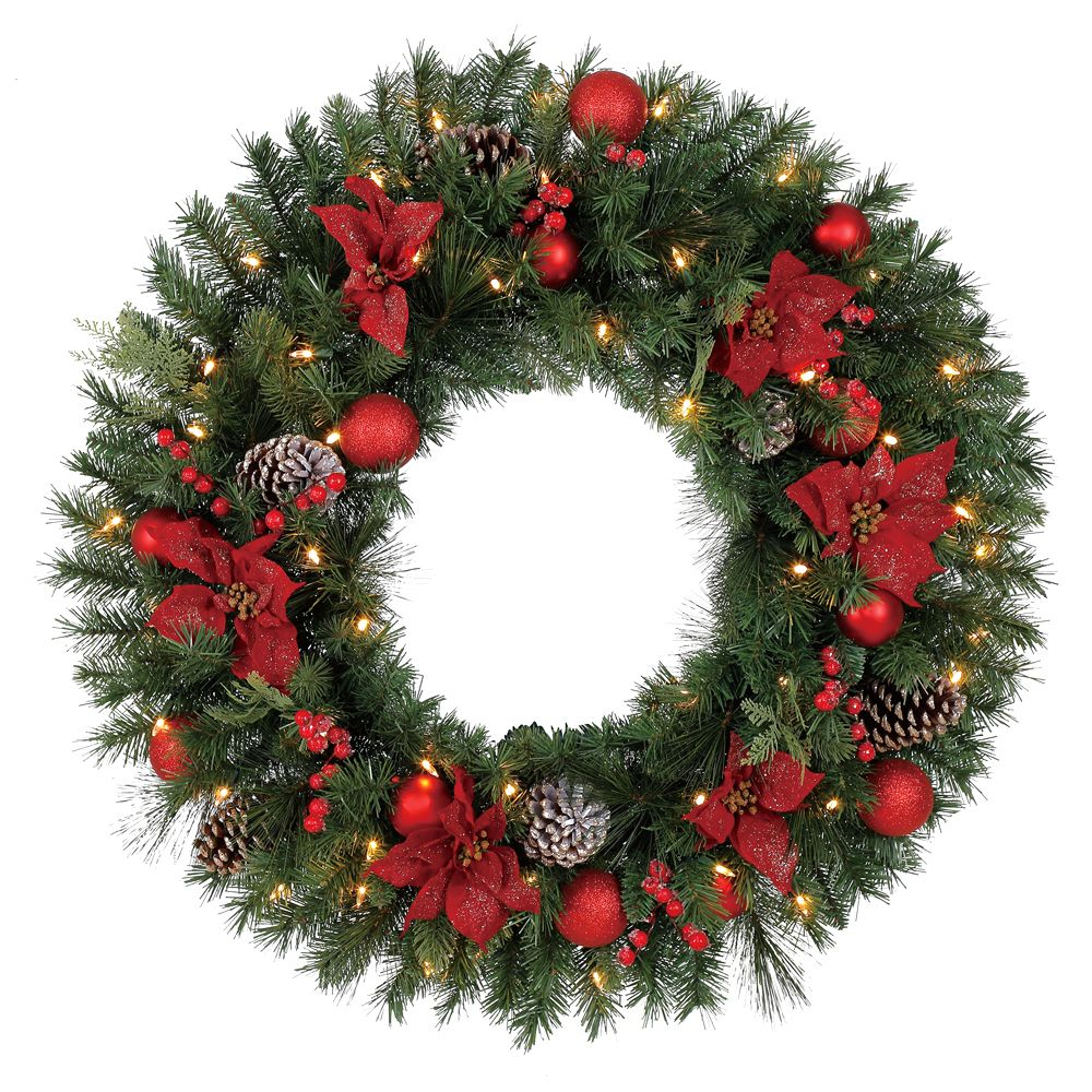 Home Accents Holiday 32 inch Pre-Lit LED Artificial Red Poinsettia Wreath with 50 Battery-Operated Lights