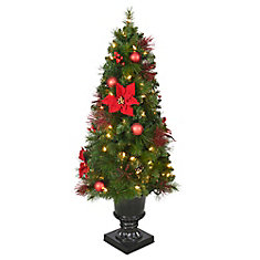 4 ft. Pre-Lit LED Icicle Shimmer Potted Christmas Tree with 70 Warm White Lights