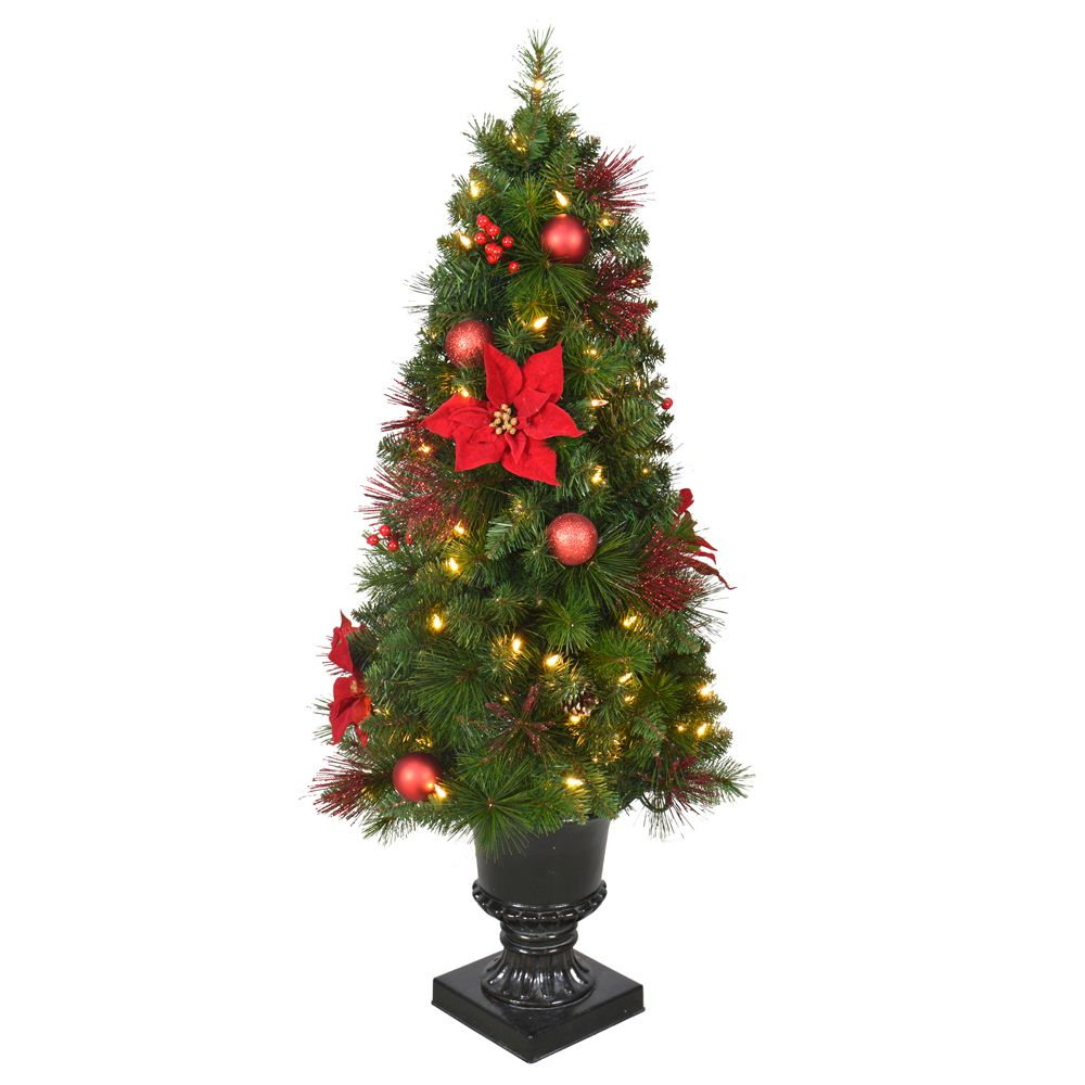 Home Accents Holiday 4 ft. Pre-Lit LED Icicle Shimmer Potted Christmas Tree with 70 Warm White Lights