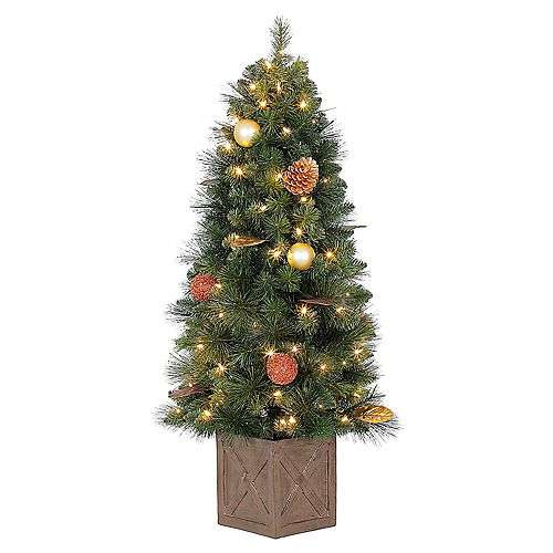 Home Accents Holiday 4 ft. Pre-Lit LED Arctic Flurry Potted Christmas Tree with 70 Warm White Lights