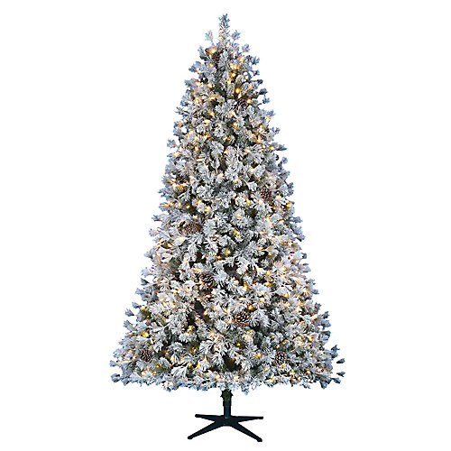 7.5 ft. Pre-Lit LED Flocked Lexington Pine Artificial Christmas Tree with 500 Warm White 5 Function Lights