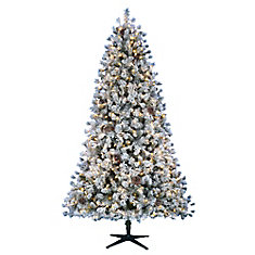 Pre Lit Led Flocked Lexington Pine Artificial Christmas Tree With 500 Warm White 5 Function Lights