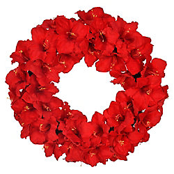 Home Accents Holiday 28 inch Red Amaryllis Artificial Christmas Wreath