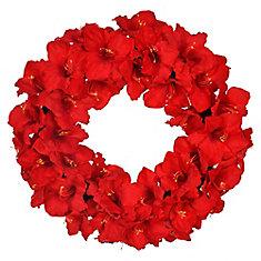 Couronne de Noël Amaryllis rouge artificielle de 28po