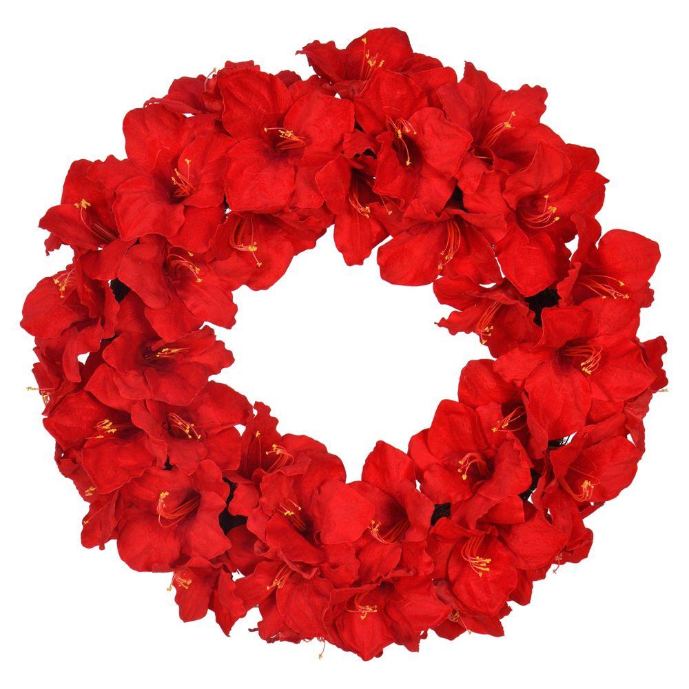 Home Accents Holiday Couronne de Noël Amaryllis rouge artificielle de 28po