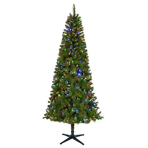 Home Accents 7.5 ft. Pre-Lit LED Wesley Slim Spruce Artificial Christmas Tree with 350 Color Changing Lights