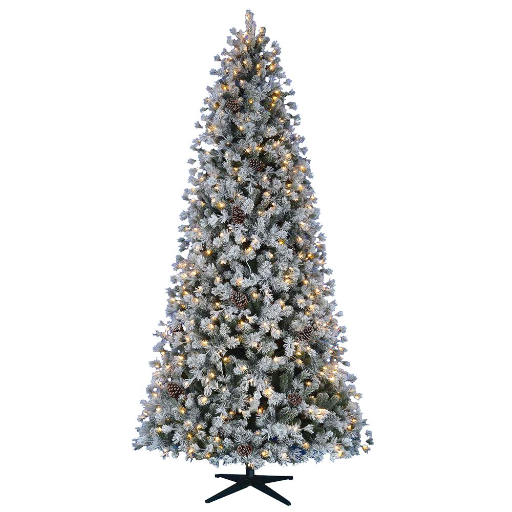 9 ft. Pre-Lit LED Flocked Lexington Artificial Christmas Tree with 500 Warm White 5 Function Lights