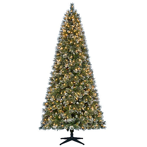 9 ft. Pre-Lit LED Sparkling Pine Artificial Christmas Tree with 600 Warm White 5 Function Lights
