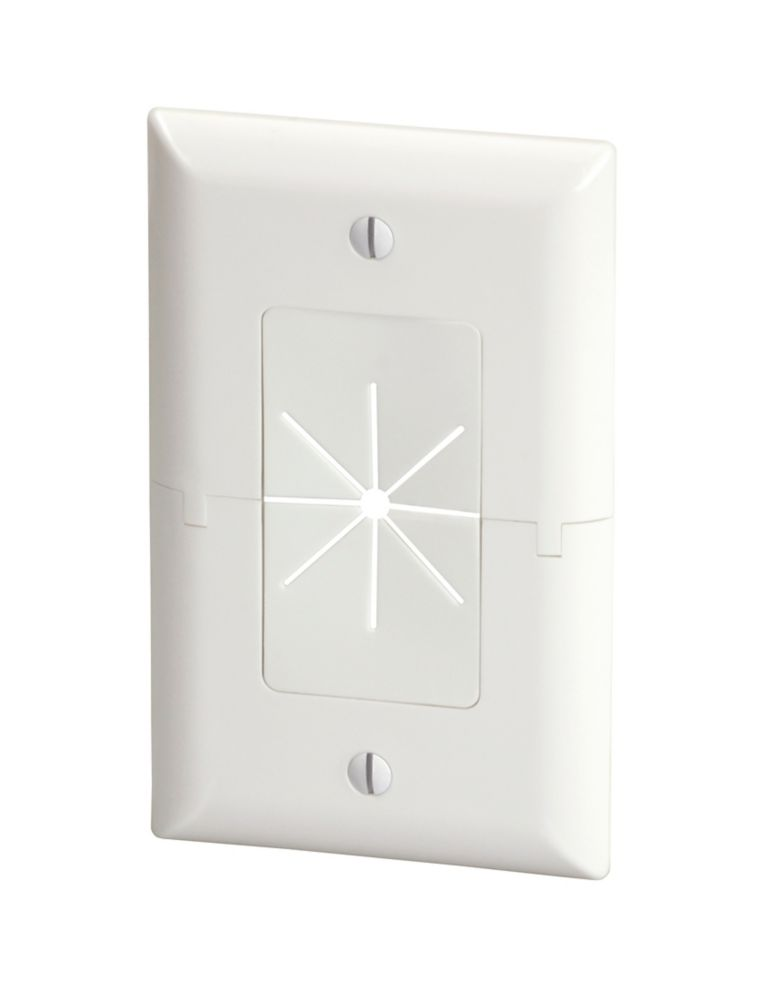 Commercial Electric 1-Gang Split Plate, White