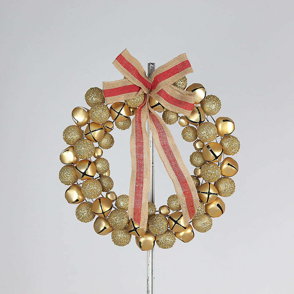 Decorative Gold Jingle Bell Wreath