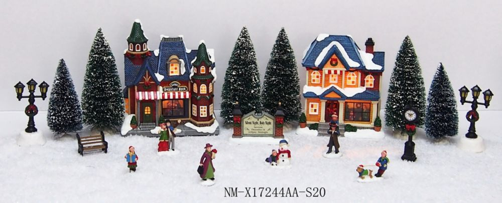 Home Accents Holiday 20-Piece LED-Lit Holiday Village Scene