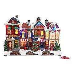LED-Lit Holiday Village Street Scene