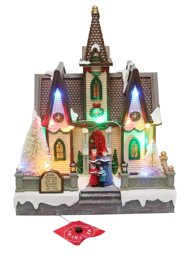 Home Accents Holiday 9-inch Illuminated LED Christmas Church