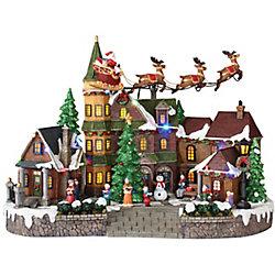 Home Accents Holiday Village LED-Lit Flying Santa