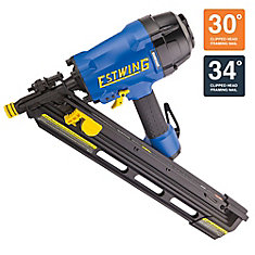 Pneumatic 34° Clipped Head Framing Nailer with Padded Bag