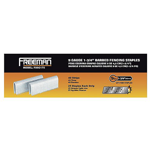 Freeman Pneumatic 1-3/4 inch 9-Gauge Barbed Fencing Staples (1,000-Pack)