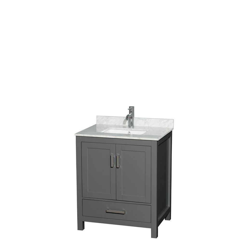 Wyndham Collection Sheffield 30 Inch Dark Gray Single Vanity, Carrara Marble Top, Square Sink, No Mirror
