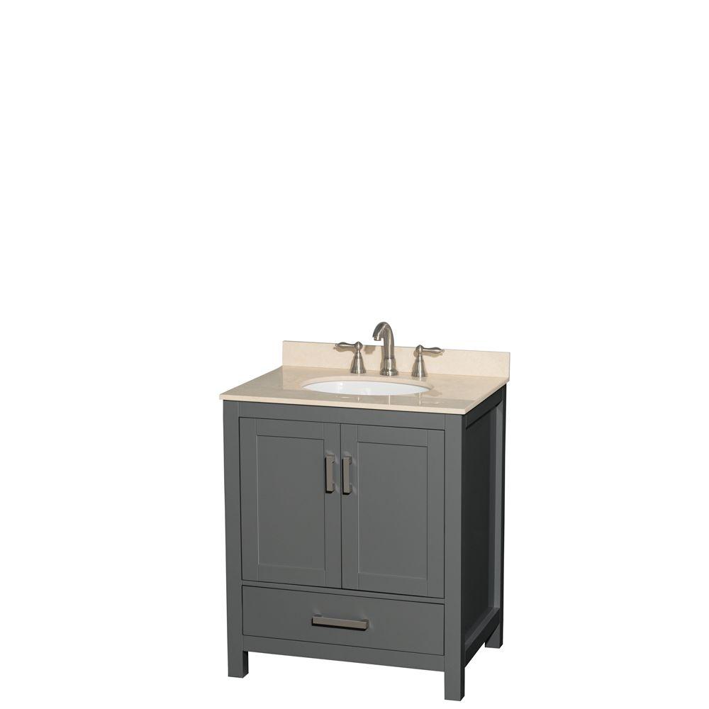 Wyndham Collection Sheffield 30 Inch Dark Gray Single Vanity, Ivory Marble Top, Oval Sink, No Mirror