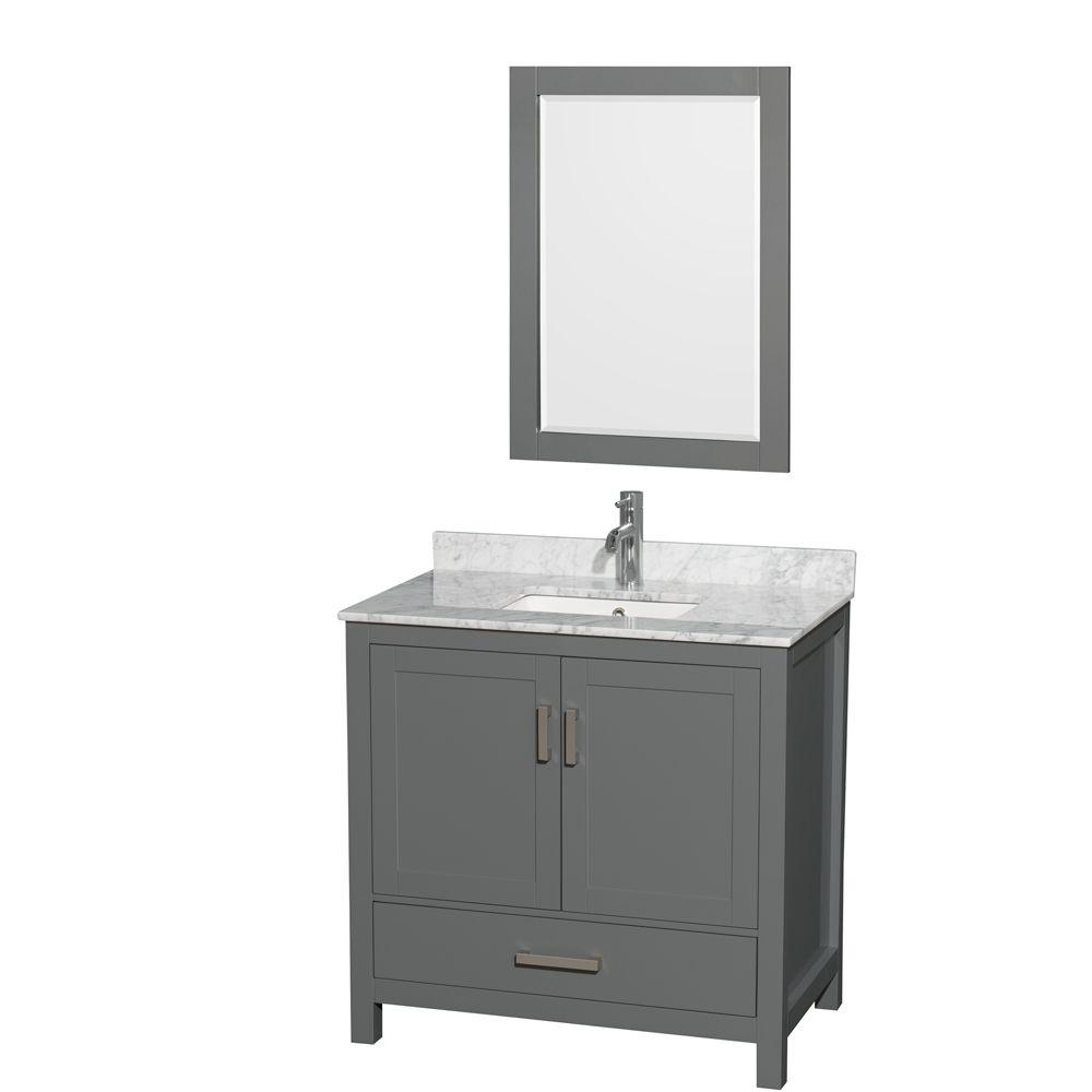 Wyndham Collection Sheffield 36 Inch Dark Gray Single Vanity, Carrara Marble Top, Square Sink, 24 Inch Mirror