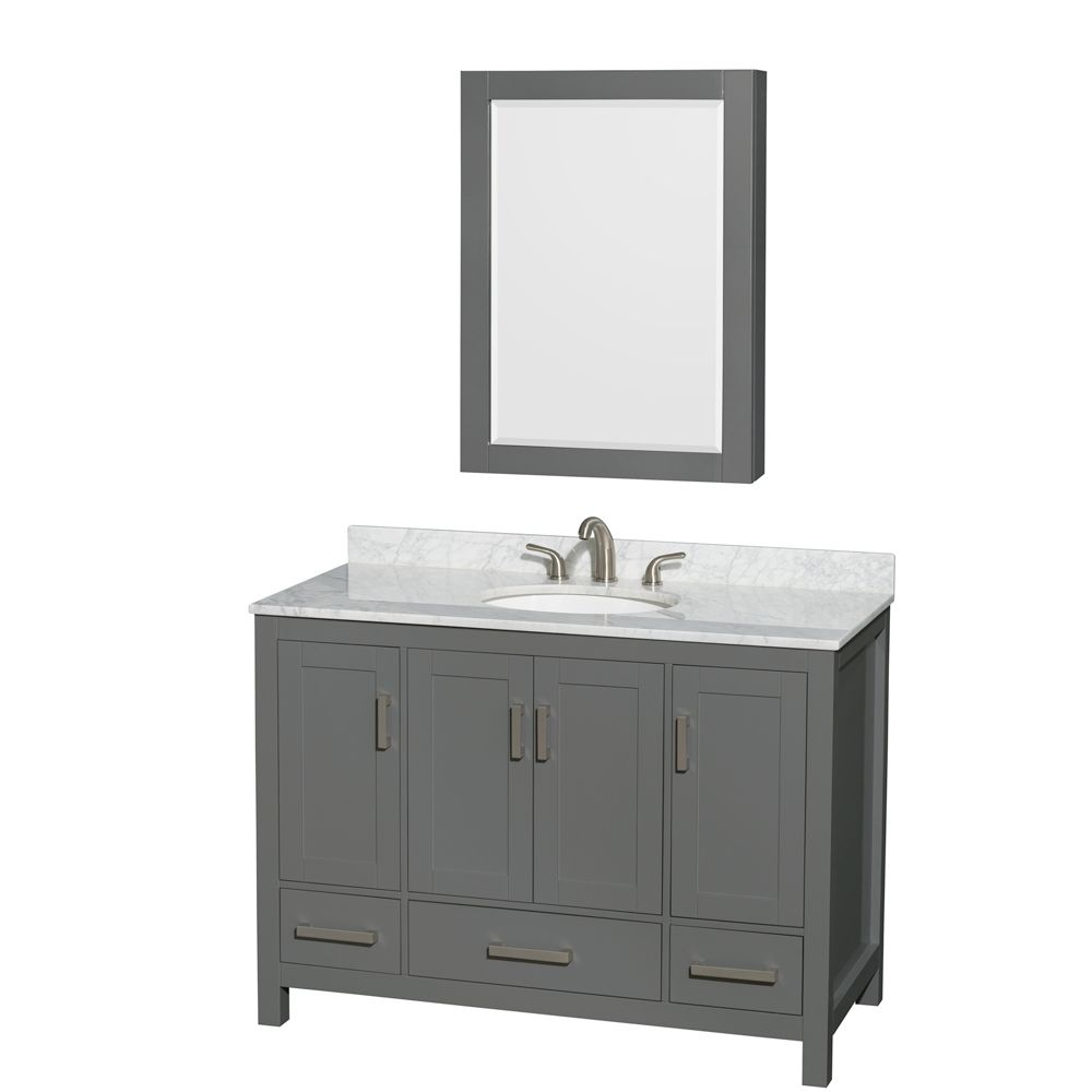 Wyndham Collection Sheffield 48 Inch Dark Gray Single Vanity, Carrara Marble Top, Oval Sink, Medicine Cabinet