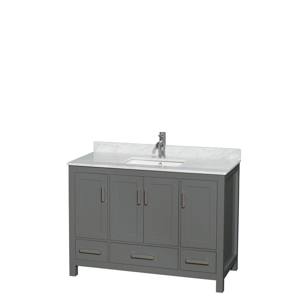 Wyndham Collection Sheffield 48 Inch Dark Gray Single Vanity, Carrara Marble Top, Square Sink, No Mirror