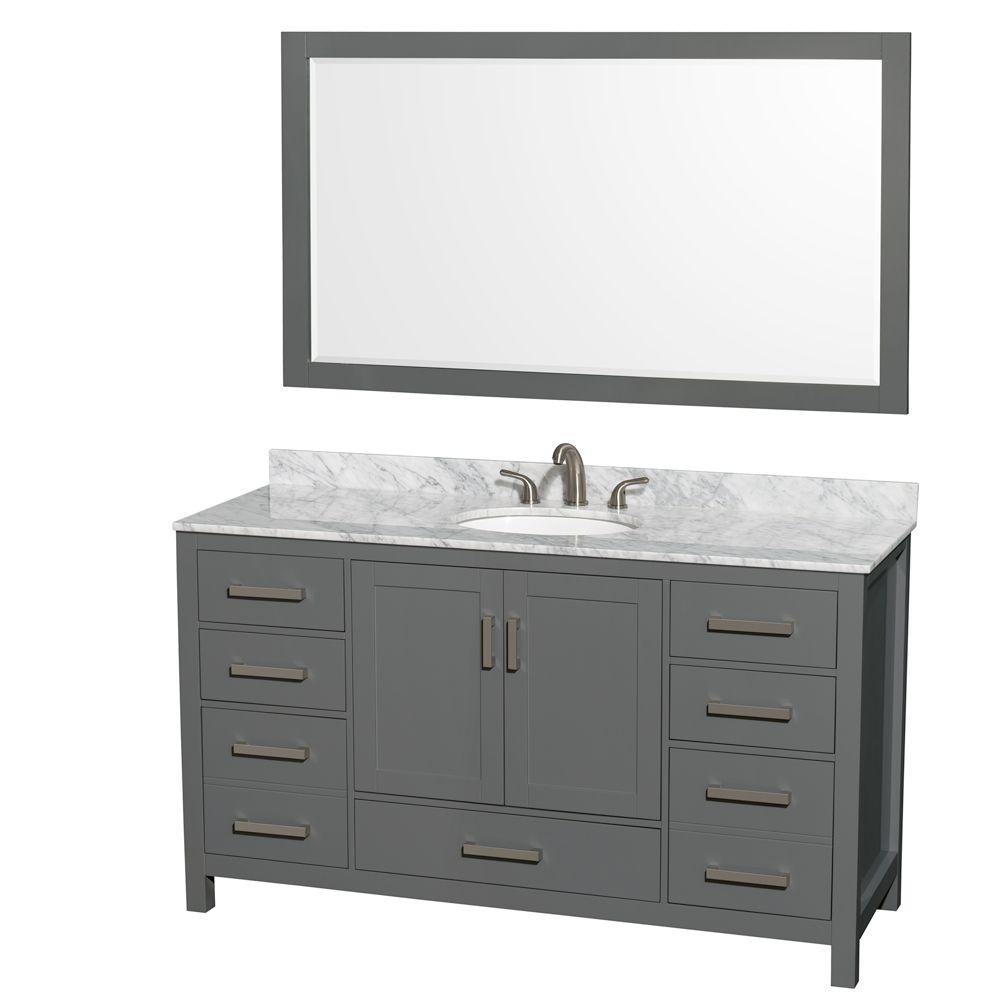 Wyndham Collection Sheffield 60 Inch Dark Gray Single Vanity, Carrara Marble Top, Oval Sink, 58 Inch Mirror