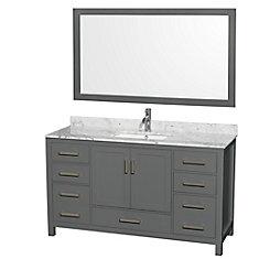 Sheffield 60 Inch Dark Gray Single Vanity, Carrara Marble Top, Square Sink, 58 Inch Mirror