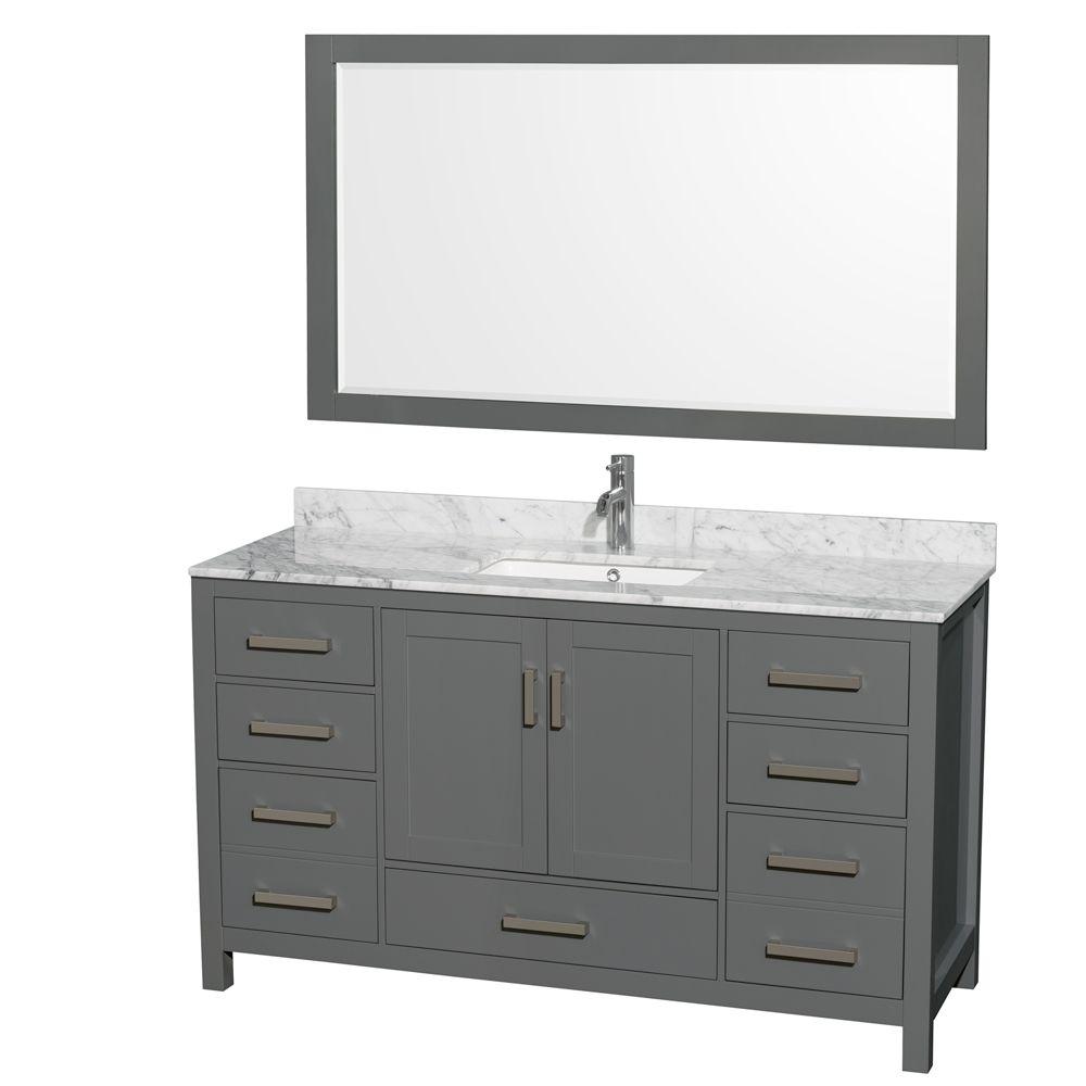 Wyndham Collection Sheffield 60 Inch Dark Gray Single Vanity, Carrara Marble Top, Square Sink, 58 Inch Mirror