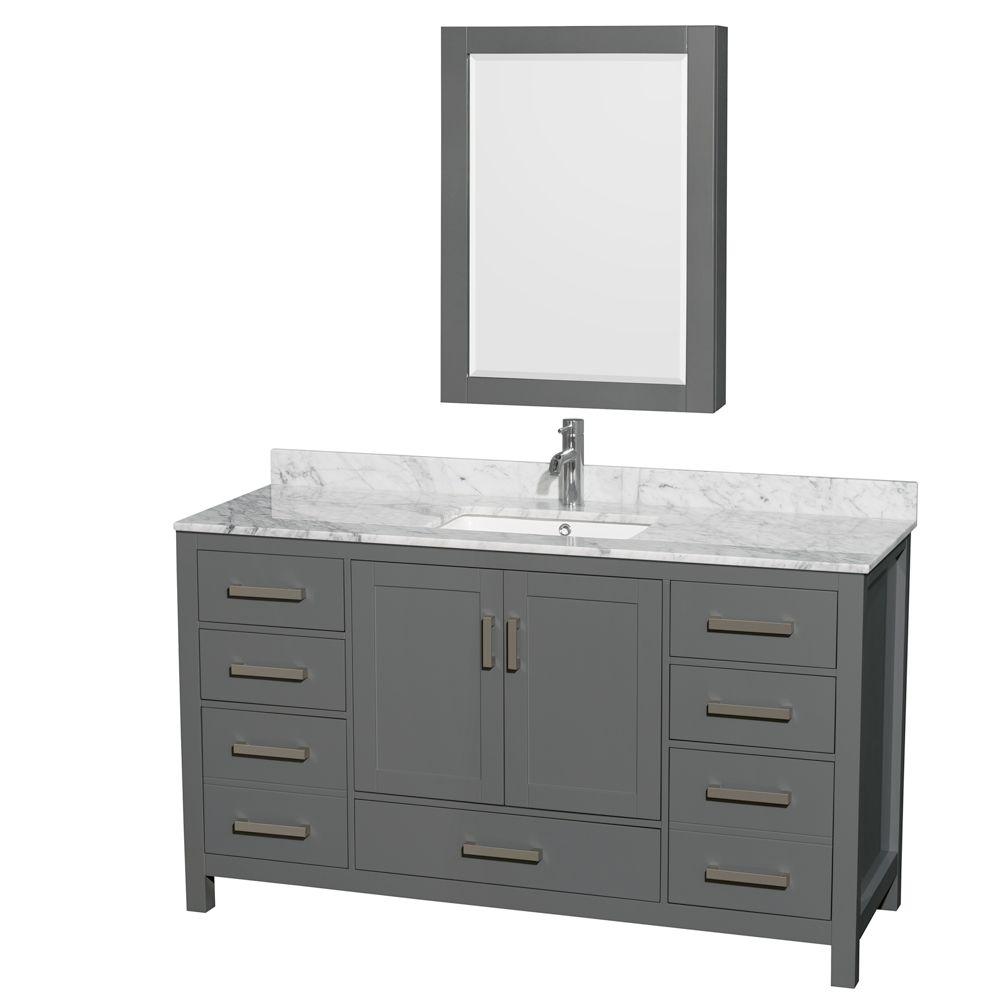 Wyndham Collection Sheffield 60 Inch Dark Gray Single Vanity, Carrara Marble Top, Square Sink, Medicine Cabinet