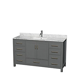 Sheffield 60 Inch Dark Gray Single Vanity, Carrara Marble Top, Square Sink, No Mirror