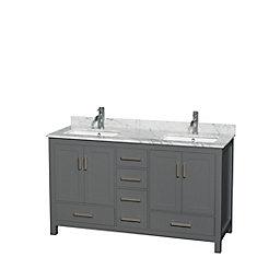 Sheffield 60 Inch Dark Gray Double Vanity, Carrara Marble Top, Square Sinks, No Mirror