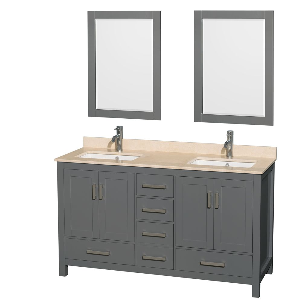 Wyndham Collection Sheffield 60 Inch Dark Gray Double Vanity, Ivory Marble Top, Square Sinks, 24 Inch Mirrors