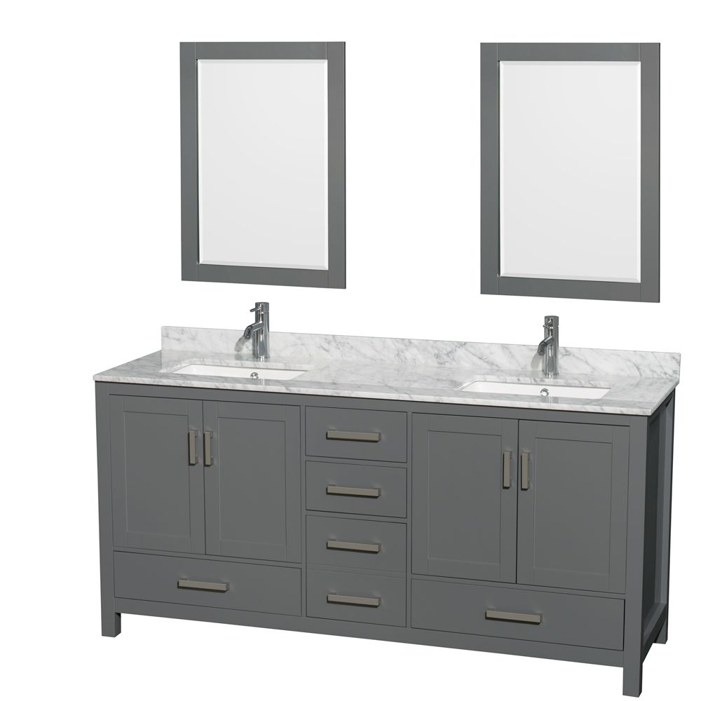 Wyndham Collection Sheffield 72 Inch Dark Gray Double Vanity, Carrara Marble Top, Square Sinks, 24 Inch Mirrors