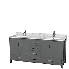 Sheffield 72 Inch Dark Gray Double Vanity, Carrara Marble Top, Square Sinks, No Mirror