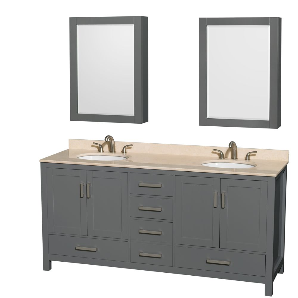 Wyndham Collection Sheffield 72 Inch Dark Gray Double Vanity, Ivory Marble Top, Oval Sinks, Medicine Cabinets