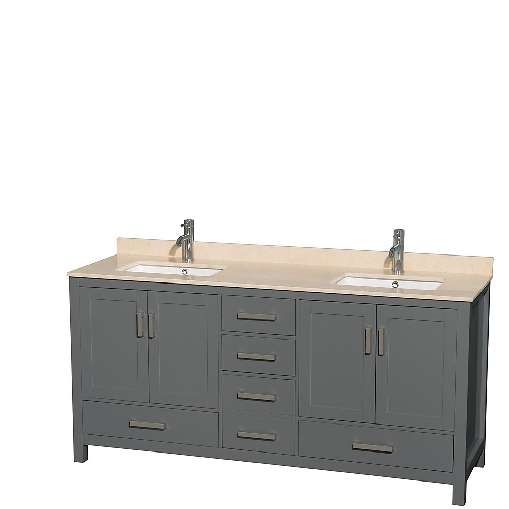 Sheffield 72 Inch Dark Gray Double Vanity, Ivory Marble Top, Square Sinks, No Mirror