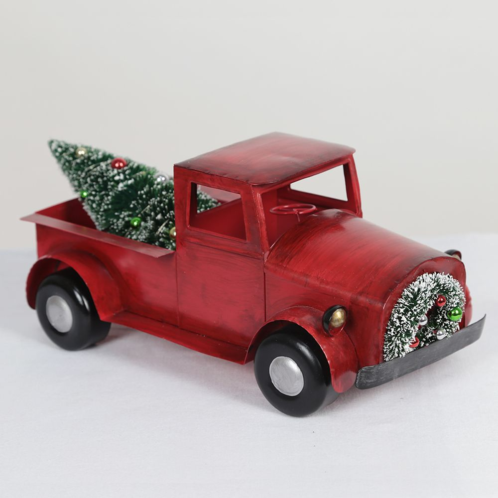 Red Truch with Tree Christmas Decoration