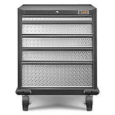 Premier Series 35-inch H x 28-inch W x 25-inch D Steel 5-Drawer Rolling Garage Cabinet in Red Tread
