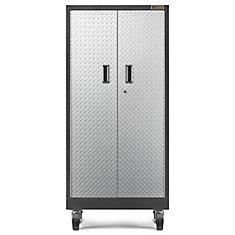 Premier Series 66-inch H x 30-inch W x 18-inch D Steel Rolling Garage Cabinet in Silver Tread