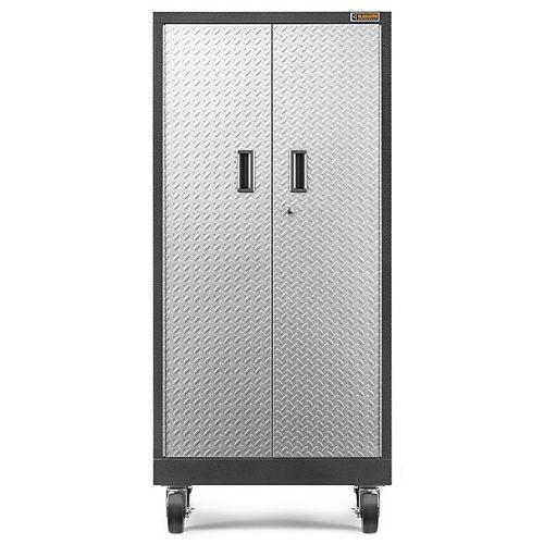Gladiator Premier Series 66-inch H x 30-inch W x 18-inch D Steel Rolling Garage Cabinet in Silver Tread